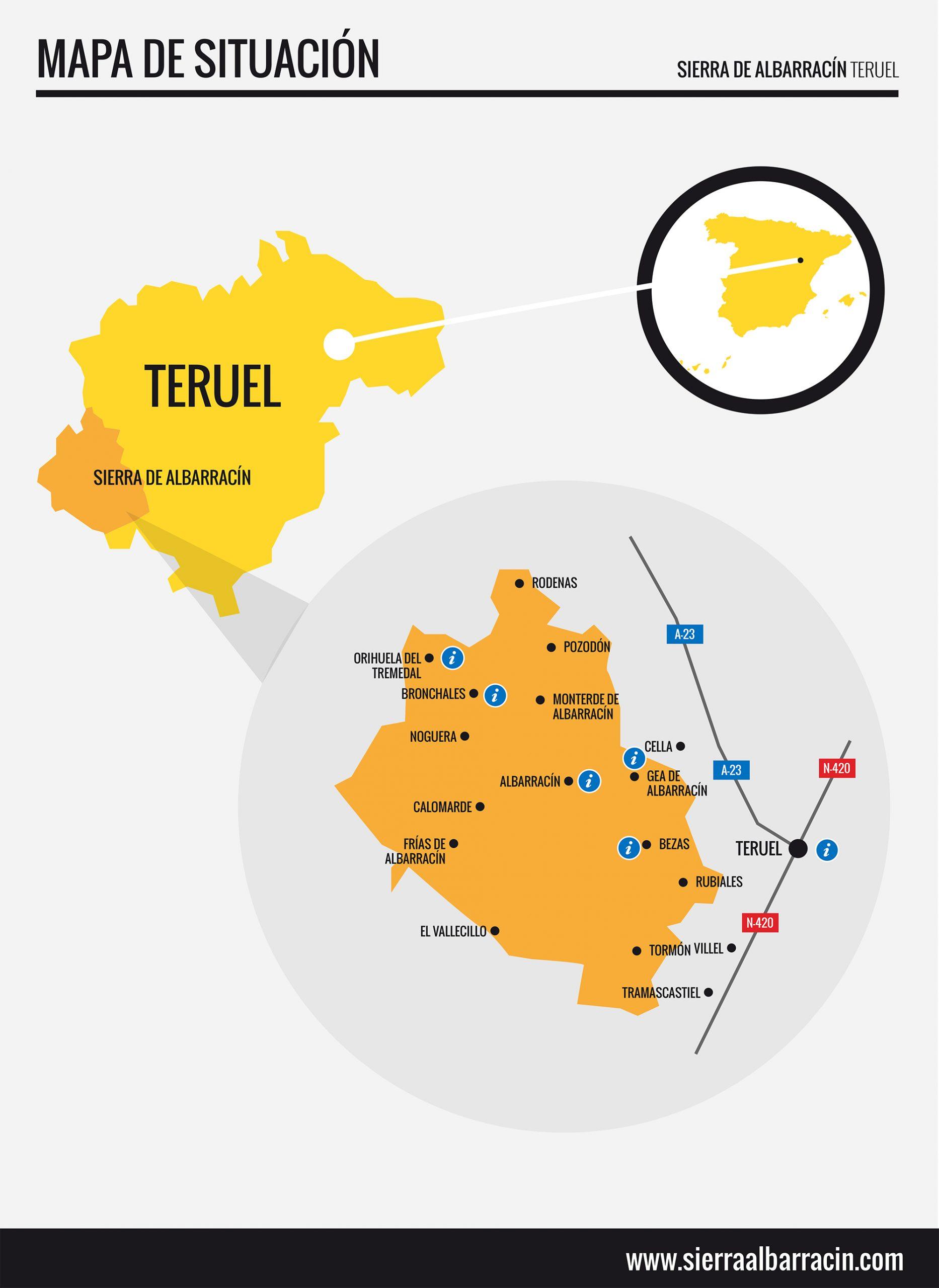 Mapa De Teruel Capital.Como Llegar Sierra De Albarracin